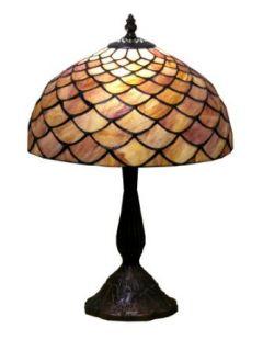Warehouse of Tiffany MB06 PS138 Tiffany style Blue Shell Table Lamp, Blue