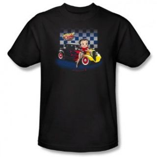 Betty Boop HOT ROD BOOP Short Sleeve Adult Tee   BLACK T Shirt Movie And Tv Fan T Shirts Clothing