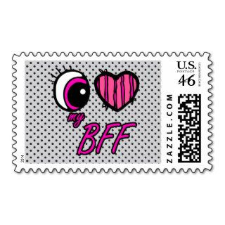 Emo Eye Heart I Love my BFF Best Friend Forever Stamp