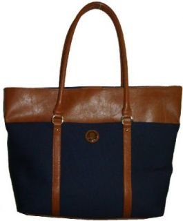 Tommy Hilfiger Women's Large Tote Handbag, Navy Canvas Trimmed With Tan Top Handle Handbags Clothing
