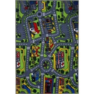 LA Rug Inc. Fun Time Driving Time Multi Colored 5 ft. 3 in. x 7 ft. 6 in. Area Rug DISCONTINUED FT GIDR001 5376
