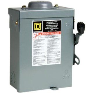 Square D by Schneider Electric D221NRBCP 30 Amp 240 volt Two Pole Outdoor General Duty Fusible Safety Switch with Neutral   Circuit Breakers