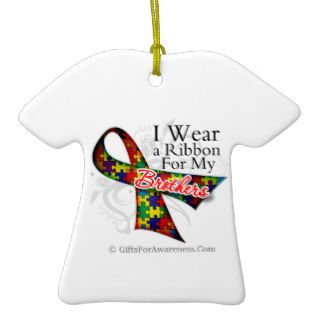 I Wear a Ribbon For My Brothers   Autism Awareness Ornaments