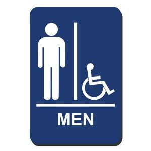 Lynch Sign 6 in. x 9 in. Men Accessible Braille for Latch Side of Door Sign MR 10
