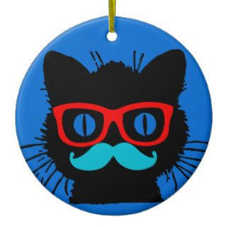 Hipster Cat Ornament with glasses & mustache