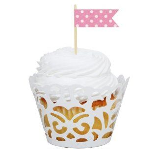Dress My Cupcake DMC31374 24 Pack Laser Cut Cupcake Wrappers and Washi Pennant Toppers DIY Kit, Pink Polka Dot Party Packs Kitchen & Dining