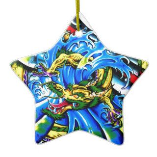 Neo Jap Dragon Tattoo Christmas Tree Ornaments