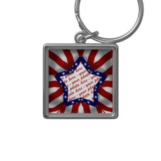 Red White & Blue Star Shaped Photo Frame Key Chains
