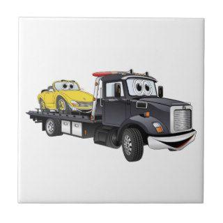Black Tow Truck Flatbed Cartoon Tiles