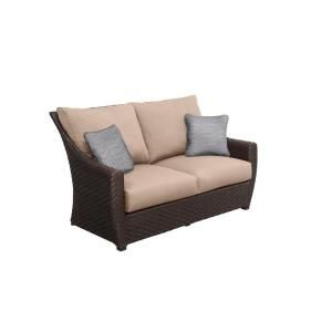 Brown Jordan Highland Patio Loveseat in Sparrow with Congo Throw Pillows M10035 LV 2