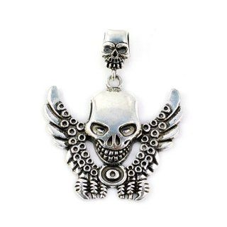 3 Pcs Per Lot Antique Silver Steampunk Super Cool Skull Pendant for Scarf Jewelry Diy, Pt 372 Beauty