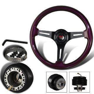 345mm 6 Hole Purple Wood Grain Style Deep Dish Steering Wheel + Nissan Hub Adapter Automotive