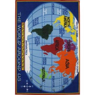 LA Rug Inc. Fun Time Kids World Map Multi Colored 5 ft. 3 in. x 7 ft. 6 in. Area Rug FT 167 5376