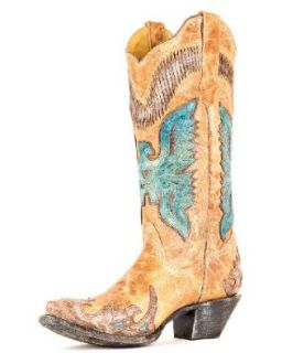 Corral Boots Women's Antique Saddle / Turquoise Eagle Overlay Leather Cowgirl Boots: Shoes
