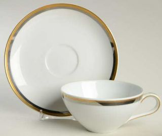 Wentworth Camelot Flat Cup & Saucer Set, Fine China Dinnerware   Gold Ring,Plati