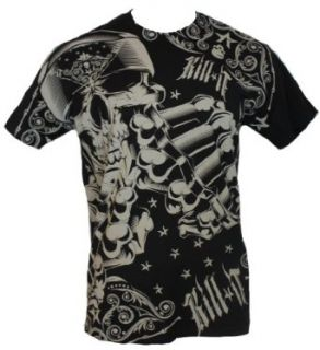 Kill It Brand MMA Mens T Shirt   Brass Knuckle Brandishing Skeleton: Clothing