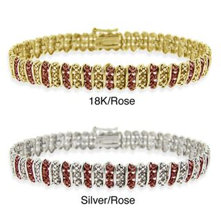 DB Designs 18k Two tone Gold over Silver Champagne Diamond Tennis Bracelet DB Designs Diamond Bracelets