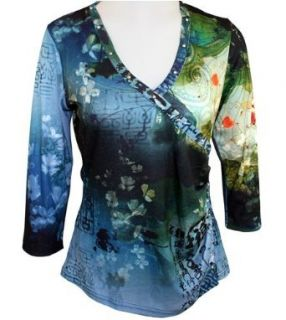 Impulse California, 3/4 Sleeve, V Neck Collar, Floral Patterned & Side Pleated on a Multi Colored Body with Silver Rivet Accents   Icy Blue (Large) at  Women�s Clothing store: Shirts