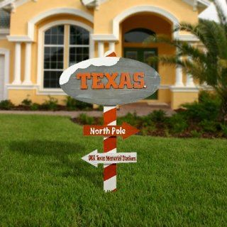 NCAA Texas Longhorns Wooden North Pole Sign   Burnt Orange/White   Ornament Hanging Stands