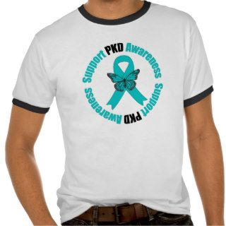 Polycystic Kidney Disease Awareness Butterfly Tee Shirts