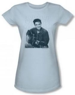 Elvis Repeat Juniors Light Blue Sheer Cap Sleeve T Shirt ELV461 JS: Clothing