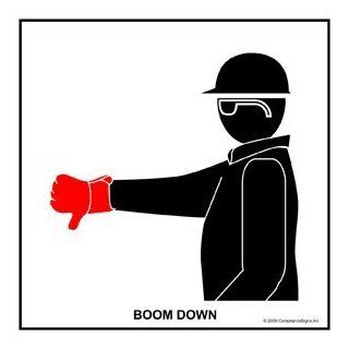 Boom Down Label CRANE 477 Crane Hand Signals : Business And Store Signs : Office Products