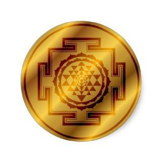 Golden Sri Yantra Round Sticker: Toys & Games