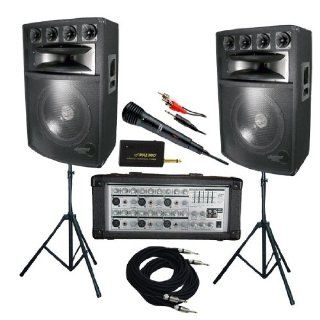 Pyle KTDM1589 1600 Watt Complete DJ Speaker System   15' Six Way Powered Mixer/Stands/MIC/Cables Musical Instruments