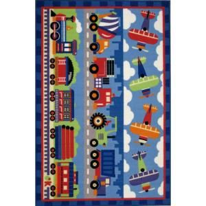 LA Rug Inc. Olive Kids Trains, Planes and Trucks Multi Colored 39 in. x 58 in. Area Rug OLK 003 3958