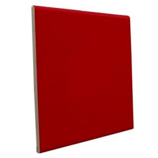 U.S. Ceramic Tile Color Collection Bright Red Pepper 6 in. x 6 in. Ceramic Surface Bullnose Wall Tile DISCONTINUED U739 S4669