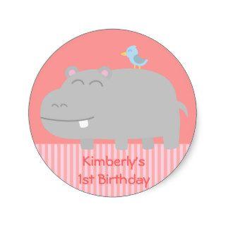 1st Birthday Cute Hippo with Blue Bird Cartoon Stickers