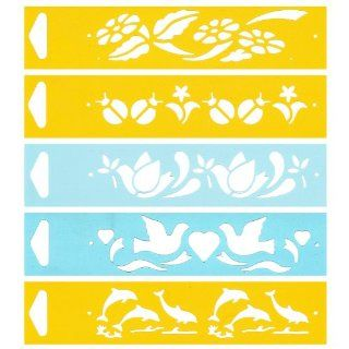 "Set of 5   6.9"" x 1.7"" Reusable Flexible Plastic Stencils for Cake Design Decorating Wall Home Furniture Fabric Canvas Decorations Airbrush Drawing Drafting Template   Flowers Ladybird Peace Dove Dolphins Animals   Food Decorating Stencils"
