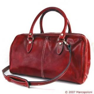 MONTE ROSSO   Italian Leather Small Travel Handbag, Vintage Red Clothing