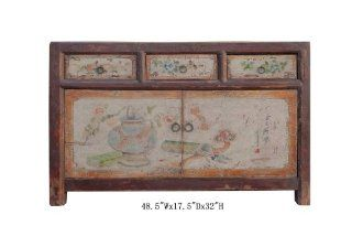Mongolian Antique Hand Painted Buffet Table Tv Stand Cabinet Awk2123   Audio Video Media Cabinets