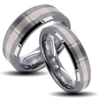Tungsten Carbide Striped Inlay Beveled Edge His and Her Wedding Band Set Men's Rings
