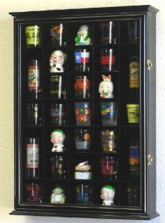 31 Shot Glass Shooter Display Case Holder Cabinet Wall Rack  Black   Wall Mounted Cabinets
