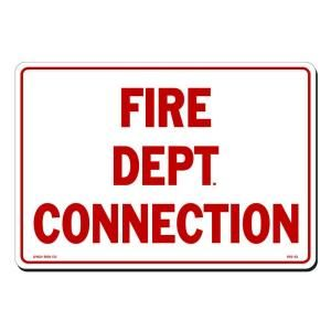 Lynch Sign 14 in. x 10 in. Red on White Plastic Fire Dept. Connection Sign FES  53