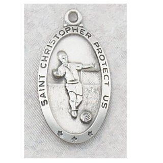 Sterling Silver Catholic Saint Christopher Patron Soccer Saint Medal Necklace: Jewelry