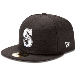 NEW ERA Mens Seattle Mariners 59FIFTY Basic Black and White Fitted Cap   Size: