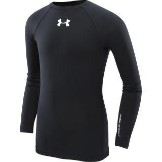 UNDER ARMOUR Girls ColdGear Fitted Mock Shirt   Size Large, Black/white