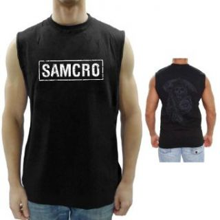 Sons Of Anarchy Samcro Boxed Reaper Black Adult Muscle Sleeveless T Shirt: Clothing