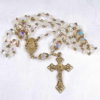 Silverplated Opal Crystal Rosary Necklaces