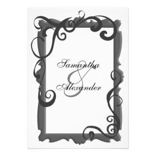Black/Gray White Swirl Frame Wedding Invitations