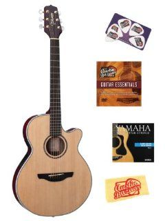 Takamine EG568C FXC Acoustic Electric Guitar Bundle with Hardshell Case, Instructional DVD, Strings, Pick Card, and Polishing Cloth Musical Instruments