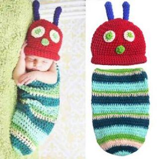 Baby Boy Girl Crochet Very Hungry Caterpillar Hat Cocoon Set Newborn Costume Photo Props Clothing
