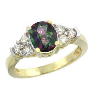 14k Yellow Gold Diamond Natural Mystic Topaz Ring Oval 2.3 ct. 9x7 Stone, sizes 5 10: Jewelry