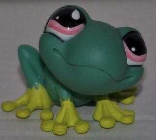 Frog #562 (Green, Pink Eyes, Lemon Yellow Toes & Spots) Littlest Pet Shop (Retired) Collector Toy   LPS Collectible Replacement Single Figure   Loose (OOP Out of Package & Print)