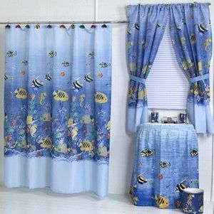 Tropical Sea Ocean Themed Shower Curtain Fabric Brand New : Shower Curtain Fish : Everything Else
