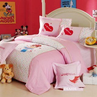 DIAIDI, Cute Princess Bedding Sets, Pink girls Bedding Set, Cartoon Bedding, Full/Twin Size, 4Pcs   Childrens Bedding Collections