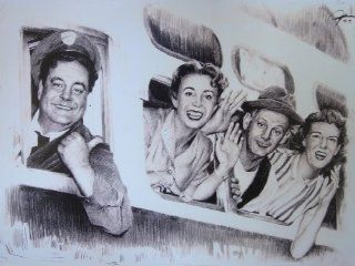 "The Honeymooners Taking Train Sketch Portrait, Charcoal Graphite Pencil Drawing Poster   11"" x 14"" Print (WU213)"